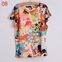 2015 New O-Neck bat sleeve tee shirt loose t shirt classic cartoon printed t-shirt women summer 3d t shirts tops tees free ship