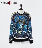 1742 YouAxon Free Shipping Oversized Blue 3D Print Sport Hoody Sportswear Sudaderas Mujer For Women Men a+ Sweatshirt