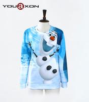 1728 YouAxon Ladies Autumn Winter Plus Size Cute Blue 3D Snowman Print Long Sleeve Hoody Sudaderas Mujer For Women a+ Sweatshirt