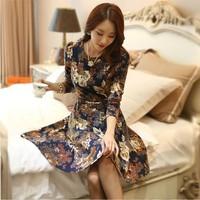 Autumn 2014 new Korean version high-end color rendering Slim round neck long-sleeved  print women dress with belt