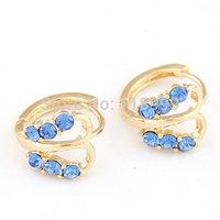 Fashion Earrings18K Real Gold Plated Women Basketball Wives CZ crystal butterfly Earrings Hoop Earrings EE2385