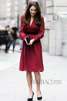 High Quality New Fashion Princess British Style 2015 Spring Women V-Neck Long-Sleeve Pleated Chiffon Silk Dress  Basic Dress Red