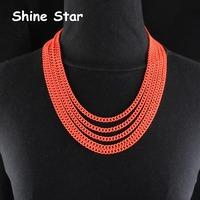 Fashion Statement Collar Orange/Green Painted Multirow Curb Metal Chain Choker Short Design Necklace Women Jewelry Item,C90