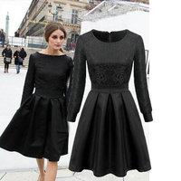 2015 New Fashion women elegant jacquard weave black Wedding dress Lady high quality evening party black Dresses winter dress