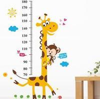 5PCS XL Cartoon Giraffe Child Growing up height wall stickers frozen kids wall sticker home decor decoration sticker Free ship