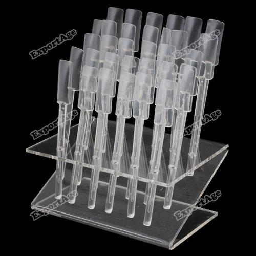 LilacLine useful 32 Nail Art Tips Stick Display Stand Practice Tool New Original!(China (Mainland))