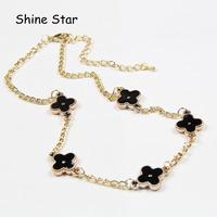 2 color,Fashion Gold Metal Short Design Chain Statement Enamel Clover Choker Chain Necklace Women Pendant Jewelry Item,C82