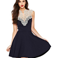2015 New Women Lace Backless Dress Black Chiffon Dress European And American Fashion Free Shipping