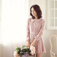 2015 Spring Sweet Lady Dress Doll Collar Applique Pleated High Waist Dresses Puff Sleeve W23186