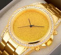 2015 Top brand  New Style  Luxury Fashion Gold Watch Full Quartz For Men women rhinestone watches Character Diamond Band
