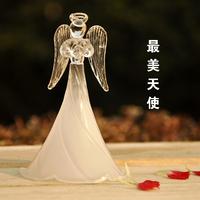 Hot home accessories ornaments white frosted Christmas blessing angel elegant skirt elegant glass angel wedding Valentine gift