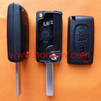 Free shipping-Peugeot 407 blade 3 button flip remote key shell with trunk button ( HU83 Blade - Trunk - With battery place )