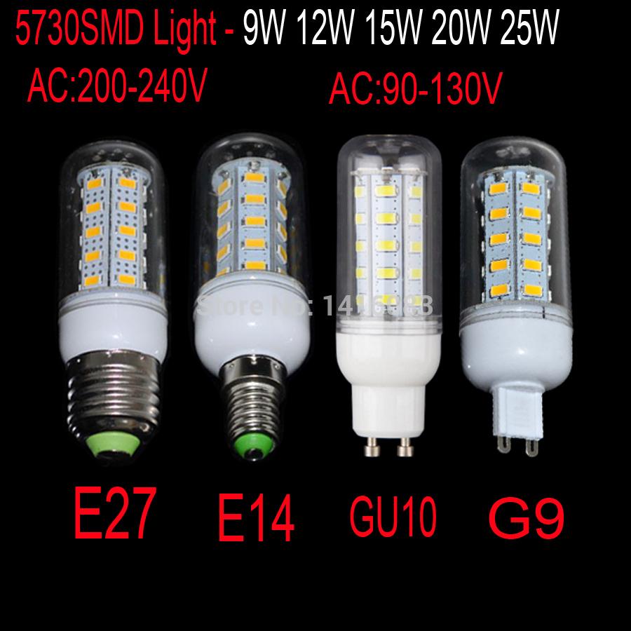 LED E27 bulb light lamp 5W 9W 12W 15W 20W 25W AC 200-240V 220V SMD 5730 High brightness LED Corn Bulb lig