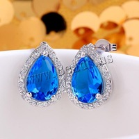 Free shipping!!! Jewelry Earring,Clearance, Brass, Teardrop, platinum plated, with cubic zirconia, blue, nickel