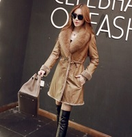 factory 2015 high-end women's modern genuine merino sheep leather with fur coat with fox fur collar,long sheep fur coat