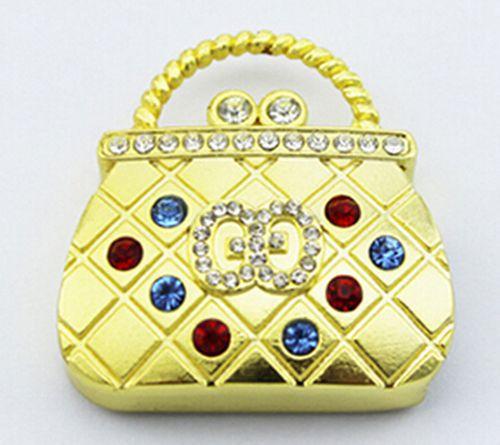 Jewelry crystal pen drive elegant golden handbag hand bag model USB flash drive 2.0 Pen memory U disk 4GB 8GB 16GB 32GB(China (Mainland))