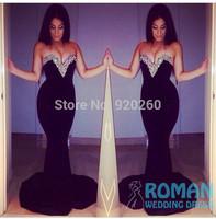 Vestido de renda 2014 Custom Made Elegant Black Satin Crystal Long  Prom Dresses 2014 Mermaid Evening Gown vestido de baile