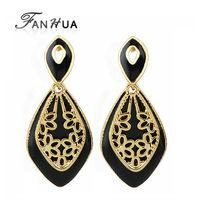 Brincos De Festa Retro Earrings Double Black White Esmaltes Color Luxury Dangle Earrings Vintage  2015 Jewelry for Women