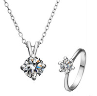 Free shipping platinum plated Zinc Alloy oval chain with cubic zirconia Quality Jewelry Set  finger ring & necklace Fine Jewelry