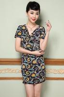 2015 spring/wummer new women dress S-3XL plus size vintage print dress for elegant lady slim short sleeve summer dress G88Y