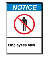 whole sale (500pcs /lot) blue color notice mark Employees only No Admittance sign pyrotechnics warning signs label sticker