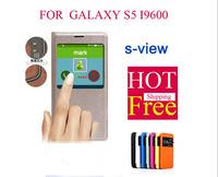 Hot! Original window s view Flip Leather for Samsung Galaxy S5 i9600  Smart Sleep/Wake Waterproof Phone Bag Cover for Samsung S5