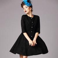 2015new spring antumn women black half sleeve O neck button casual dress fashion dress work dress plus size women clothing S-5XL