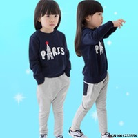 Spring new children's clothing for boys and girls two-piece cotton round neck sweater printed long-sleeved T + pants suit