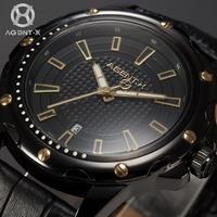 AGENTX Brand New Auto Date Display  Analog Relogio Black Gold Dial Quartz Leather Strap Clock Mens Business Wristwatch / AGX120