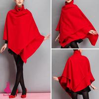 Hot Sale Red Wool Blend Asymmetrical Hem Cloak Shawl Cape Jacket Poncho Coat Outwear Tops 2015 New Arrivals