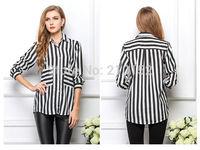 Women Lapel Long-Sleeved Striped Shirt Loose Big Yards Chiffon Shirt 2015 Explosion Models Women Shirt Blouse Summer Clothes