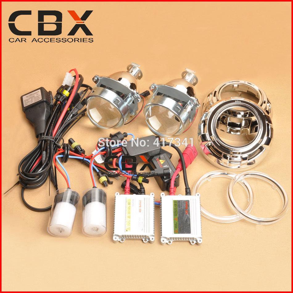 2014 New 3 Inches Metal Bracket HID Bi Xenon Projector Lens Kit 35W H1 xenon lamp