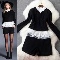 Women Fashion Black/Red Woolen Long Sleeve Ruffles Tops + Shorts 3 pcs Clothing Set,2014 Autumn Winter New European style S1130
