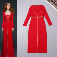 New In 2015 High Fashion Women Long Sleeve Front Zipper Bodycon Midi Dress Elegant Red Dress Free Shipping F16650