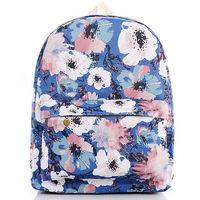 Ladies Women Girls Oil Painting Flowers Print Canvas Rucksack Backpack Travel School College Shoulder Bag Bookbag
