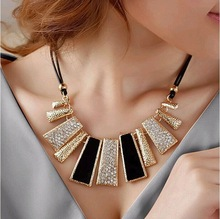 2014 New Fashion Design Beads Enamel Bib Leather Braided Rope Chain Necklace Free Shipping Feida!#972