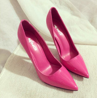 Europe and the United States and comfortable and sexy patent leather shoes pointed women's shoes Big yards of shoes high heels