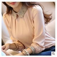 S-XXL 2014 new fashion women long sleeve chiffon shirt peter pan collar lantern sleeve women blouse tops