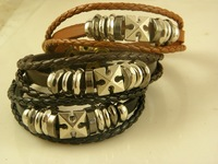 Best Selling Real Leather Cuff/Wrap Bracelets Cross Leather Jewelry Wholesale