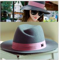 Retail 2015 New Wool Fedora Women Winter Hats Maison Michel Trilby Wide Brim Fedora Bucket Hat Stylish Cloche Felt Caps Bowler