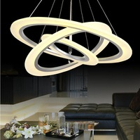 Modern Minimalist Round Frosted Acrylic, Metal Chassis Chandelier, Personality Living Room Dining Room Pendant lamp LED
