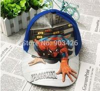 Free Shipping!100pcs/Lot ! Fashion Movie Character Spiderman Baseball Caps For Boy Cartoon Kids Visors Berets Cap G077 Wholesale