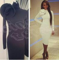 Vintage Women Vestidos 2014 Hot Selling Black White Long Sleeved Women Bodycon Dress Elegant High Neck Casual Dress With Flower