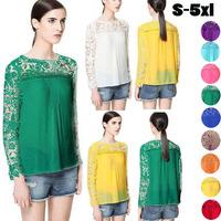 wholeslae plus Size 2014 Fashion Women Lace Sleeve Chiffion Blouses Emboridery Gorgeous Shirts Long Sleeve Hollow Crochet Tops
