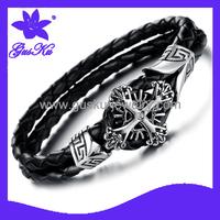 2014 Gus-STLB-004 New arrival ashion cross set auger titanium steel true leather bracelet