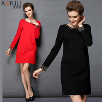 New year 2015 dress Women Long-sleeved Dress Round neck With Hand-beading Brief style dress Plus size L-5XL Black,Red