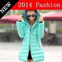 2014 new fashion slim solid winter jacket women long sleeve brand outwear parka Polyester desigual ladies down coat 1108LX