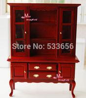 1/12 Dollhouse Miniature Wood RED Cabinet Bookshef Reading Dinning LivingRoom Furniture cabinet
