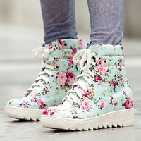 Fashion Floral Cotton Fabric Winter Autumn Ankle Boots For Women Ladies Casual Lace Up Platform Winter Shoes Women Snow Boots