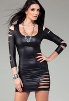 Matte Black Faux Leather Cut Out Long Sleeved Mini Dress LC2377 dress karen 2014